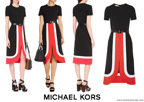 Queen Maxima wore MICHAEL KORS COLLECTION Colour-block wool midi dress