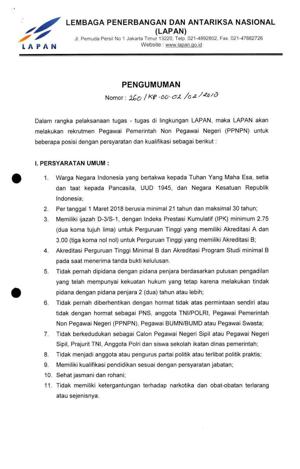 Lowongan Kerja  Rekrutmen Non PNS Terbaru LAPAN Besar Besaran    Juli 2018