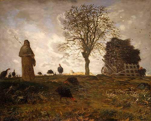 Жан Франсуа Милле - Осенний пейзаж со стаей индеек. 1873