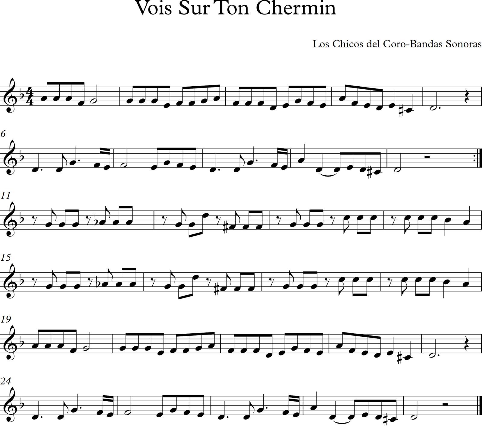 Descubriendo La Musica Partituras Para Flauta Dulce O De Pico Vois Sur Ton Chermin Los Chicos Del Coro