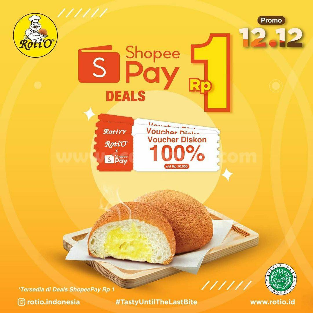 Roti'O Promo 12.12 – Voucher Deal Shopeepay Diskon 100% cuma Rp. 1,-