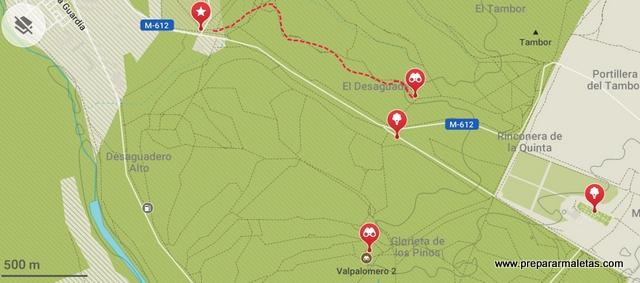 mapa miradores monte de El Pardo Madrid