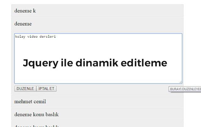 php ve jquery ile dinamik editleme
