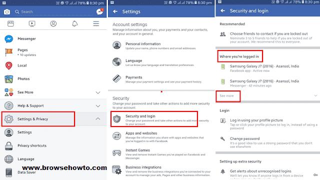 facebook app messenger sign out