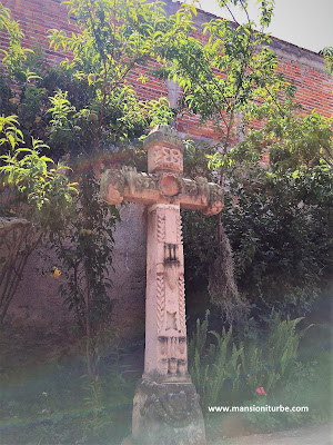 Cantera Stone Cross at the Guadalupe Chapel in Tzintzuntzan