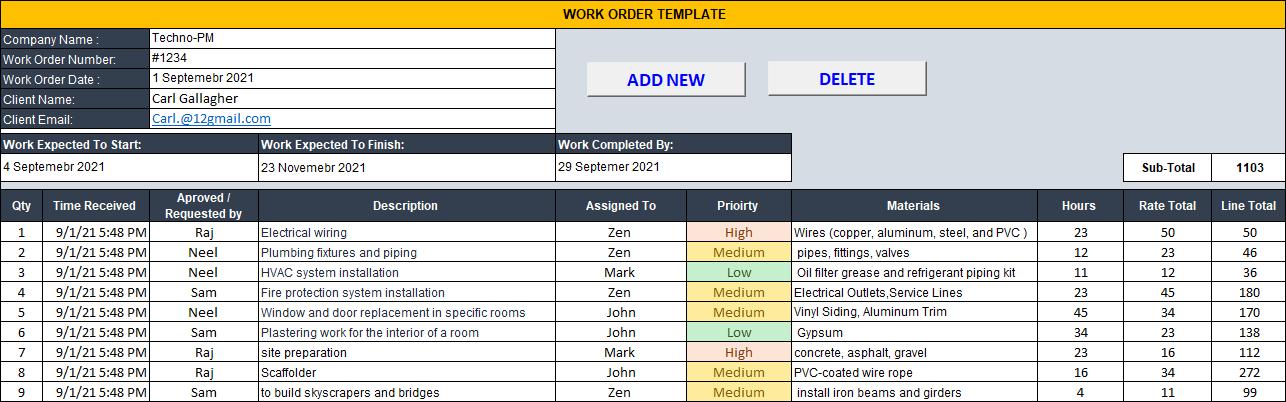 Work Order Template , Work Order