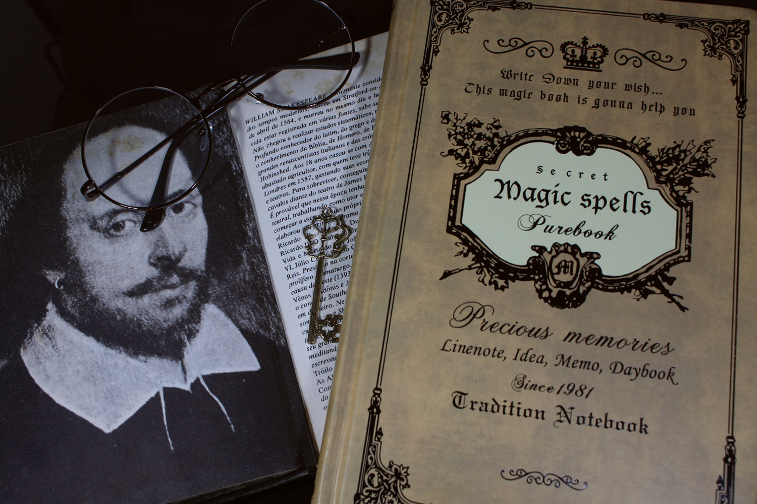 a close up image of a vitage-looking diary, laying close to a shakespeare book