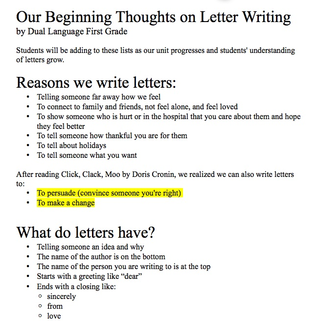 Adventures in First Grade Dual Language!: Persuasive Letter Writing
