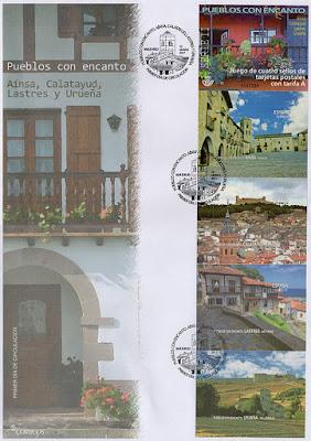 sobre, filatelia, sellos, pueblos con encanto, Aínsa, Calatayud, Lastres, Urueña