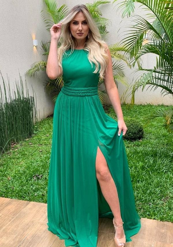 vestido longo verde bandeira para casamento