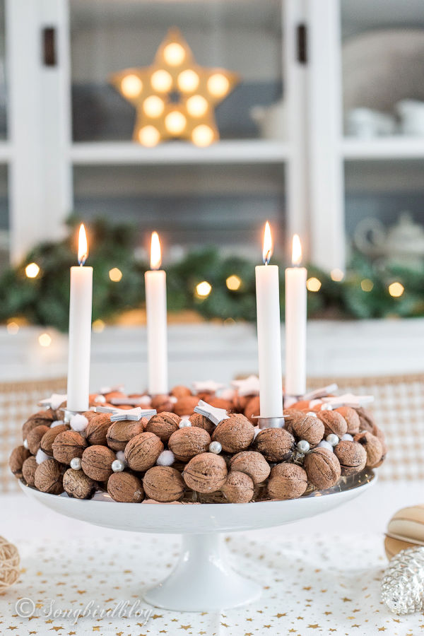 Christmas walnut wreath centerpiece