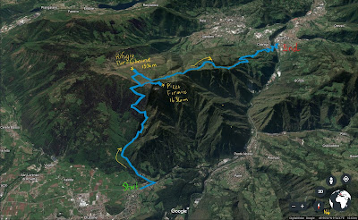 Another view of the GPS tracks for the hike from Clusone to Parafulmine.