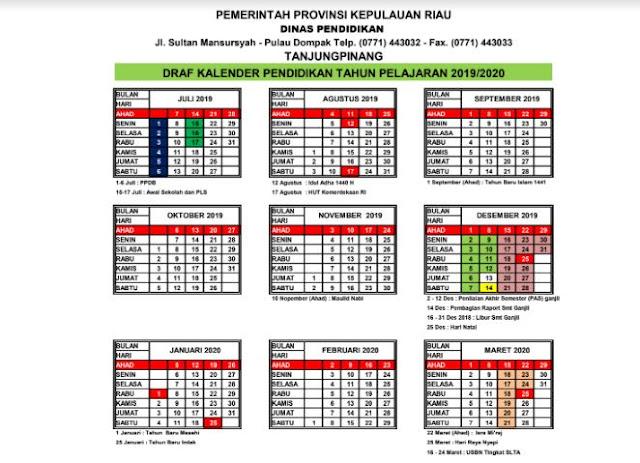 Kaldik 2019/2020 Provinsi Riau (Excel, PDF)