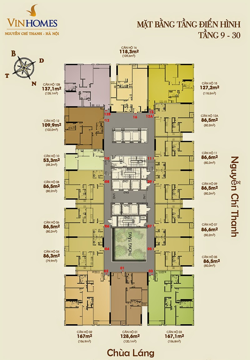 Mặt bằng tầng 9 - 30 chung cư Vinhomes Nguyễn Chí Thanh