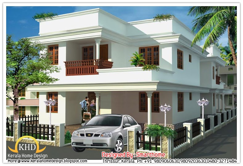 Single House Front Elevation Models : House plan and elevation sq ft kerala home