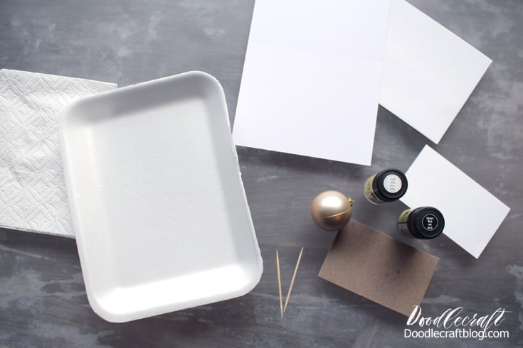 Supplies needed for Easy Marble marbling.  Styrofoam shallow dish with 1/4 inch of water.  Easy Marble in black and white.  White card stationery.  Toothpick, gloves, paper towels, acetone.