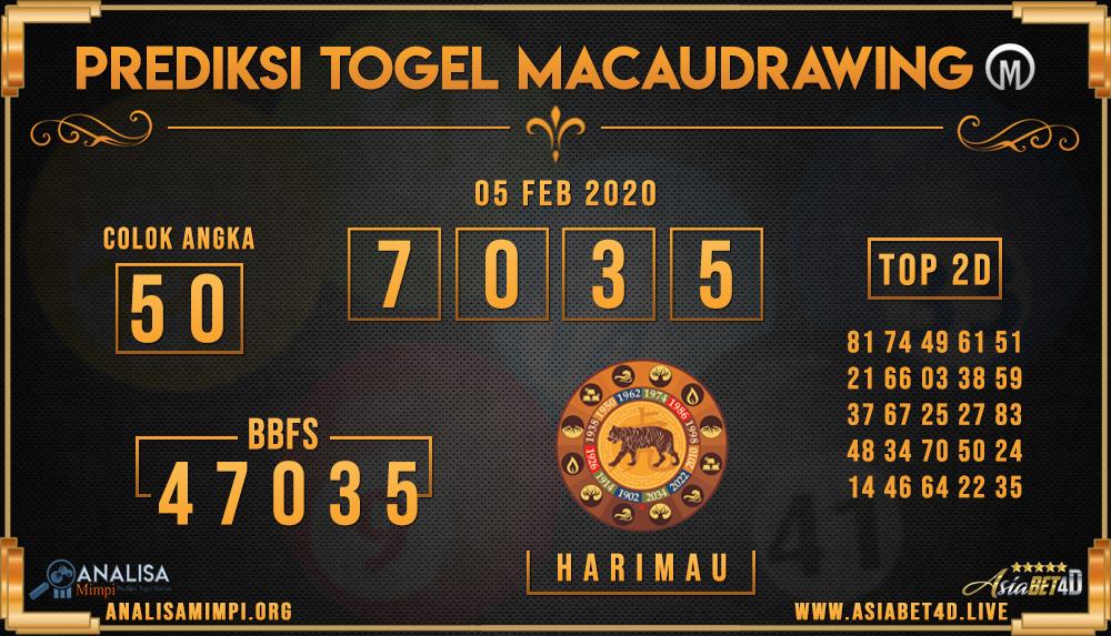 PREDIKSI TOGEL MACAU DRAWING RABU 05 FEB 2020