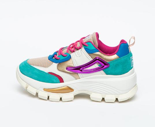 Fila Pantofi sport de dama multicolori cu talpa wedge si insertii din piele intoarsa
