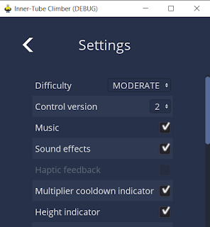 The settings screen, showing a zebra-striped list of labeled control rows.
