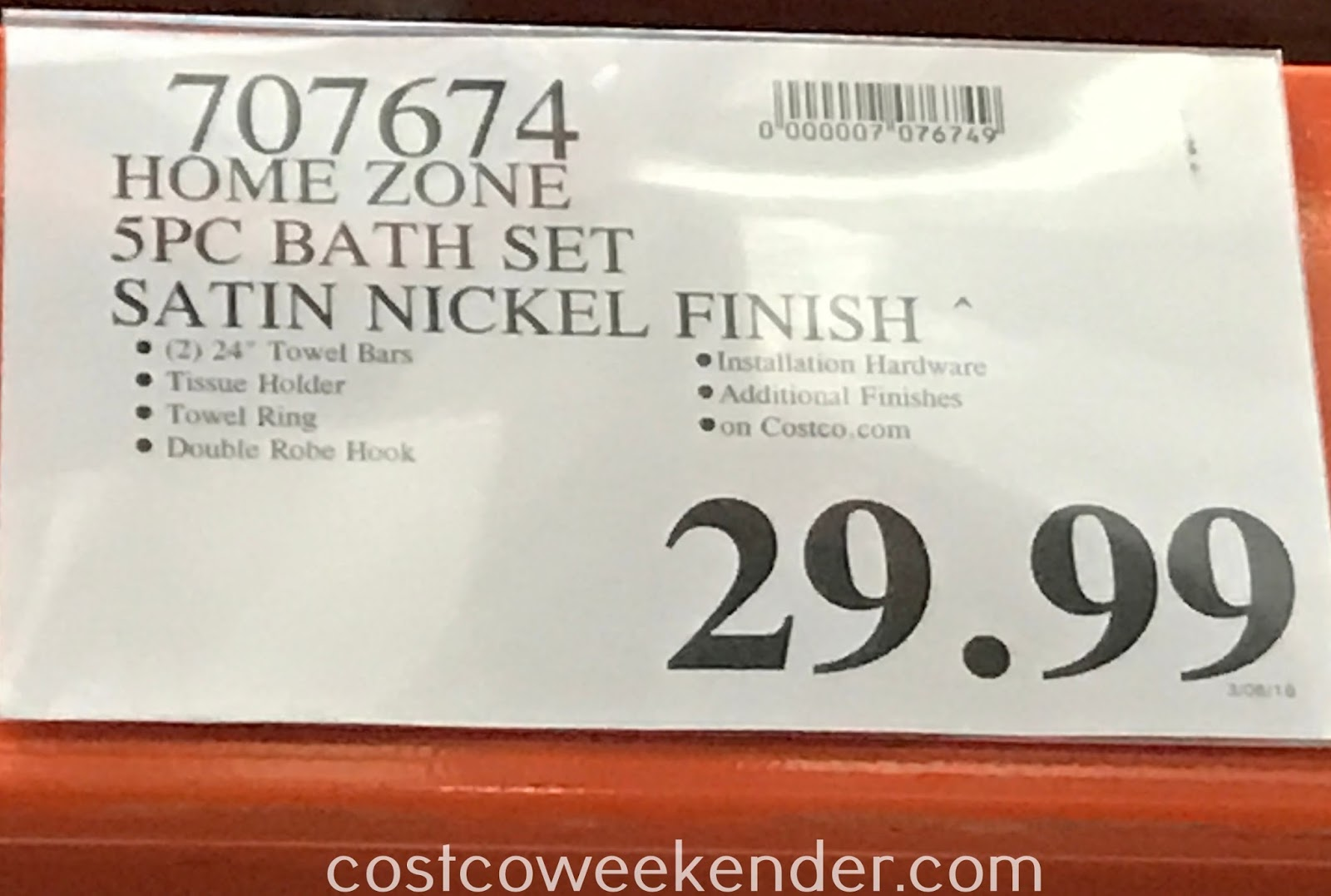 Deal for the Home Zone 5-Piece Bath Collection at Costco
