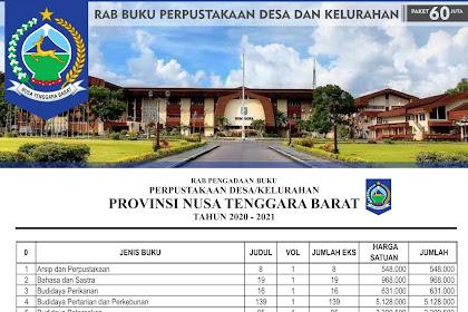 RAB Pengadaan Buku Perpustakaan Desa Di Nusa Tenggara Barat (NTB) Paket 60 Juta