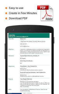 تطبيق Professional Resume Maker لإنشاء سيرة ذاتية
