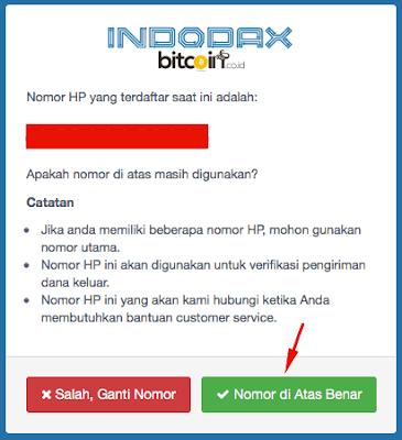 aktifasi nomor hp di akun indodax