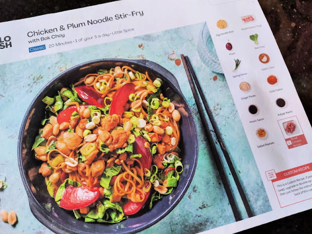 Hello Fresh recipe card showing a meal and ingredients