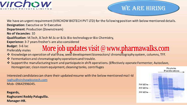 Multiple job openings in Plasma Production / Production / SCM @ Virchow Biotech Pvt Ltd