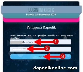 Masukkan Email Akun PTK Dapodik yang sudah terverifikasi, password, dan klik Login
