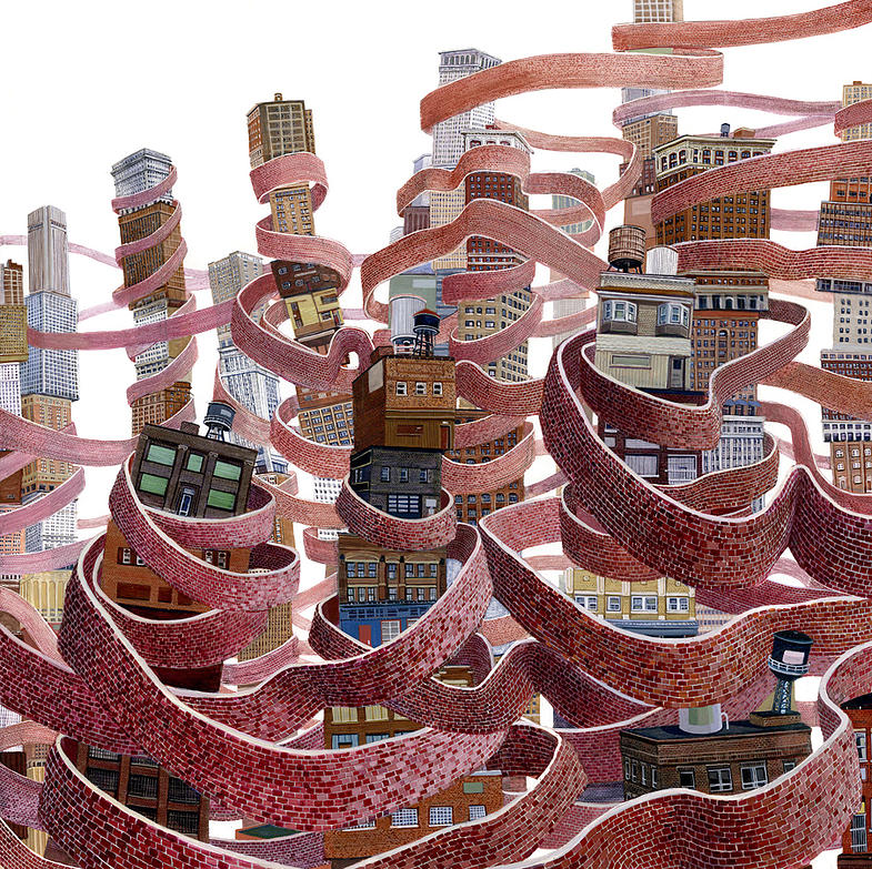 18-Ribbon Walls-Amy-Casey-Fantastical-Architectural-Paintings-of-Real-Life-Buildings-www-designstack-co