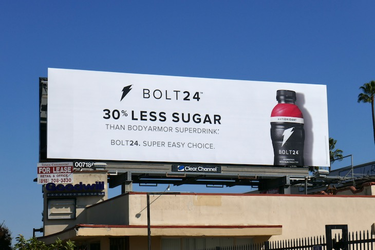 Gatorade Bolt 24 less sugar billboard