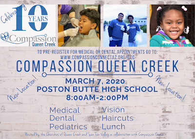 Flyer - Compassion Queen Creek, March 7, 2020, Poston Butte High School, 8:00AM to 2:00PM, Medical, Dental, Pediatrics, Vision, Haircuts, Lunch
