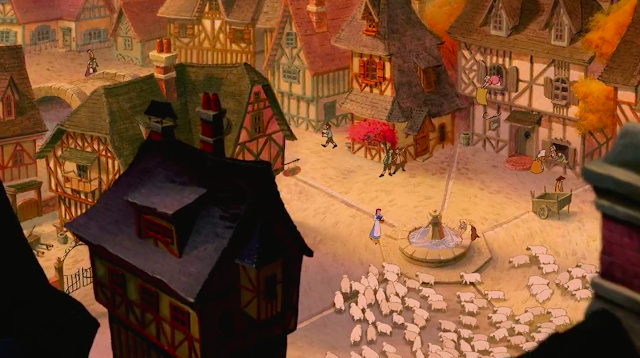 Cobblestone pathways and half-timbered buildings are prominent in the design of Belle's hometown in Beauty and the Beast