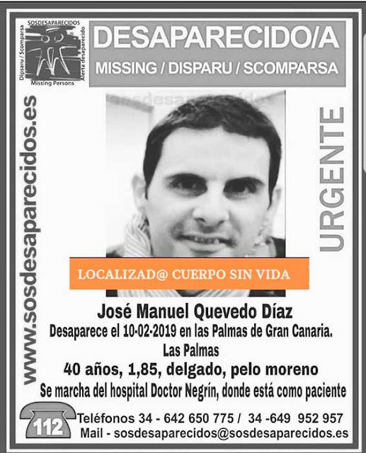 Encuentran sin vida desaparecido en Las Palmas de Gran Canaria José Manuel Quevedo Díaz