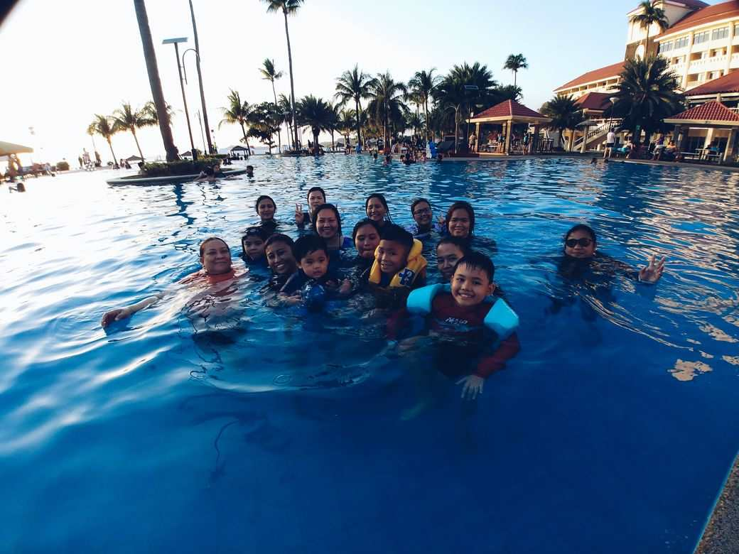 enjoying the swimming pool at Canyon Cove