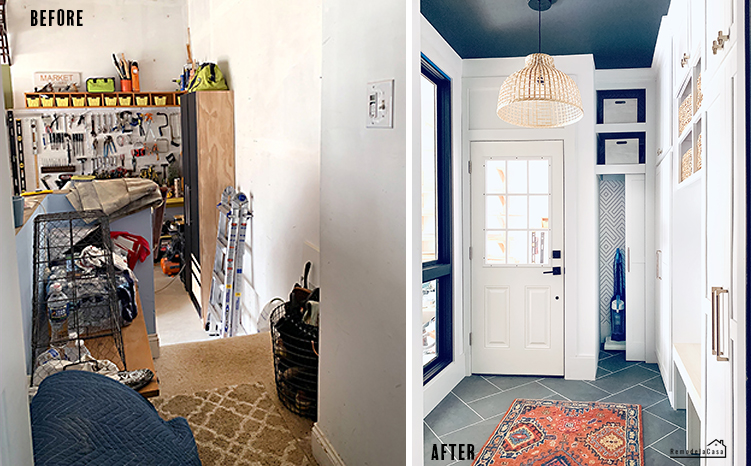 Garage mudroom before and after