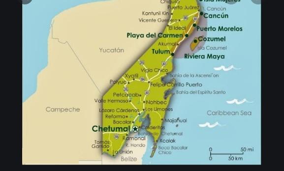 Mapa con Lugares para Visitar en Cancun Quintana Roo