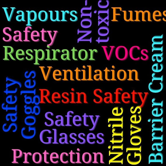 Colourful Resin Safety-related text on a black background