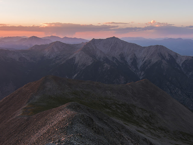 sunset over Mt. Princeton as viewed from Mt. Antero in the Sawatch Range near Buena Vista