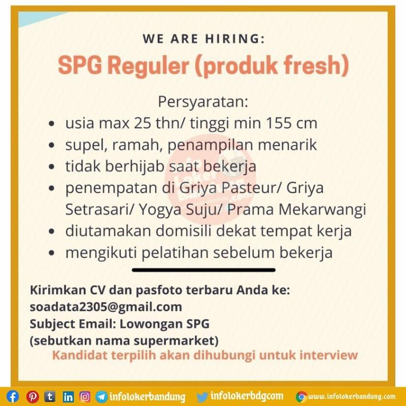 Lowongan Kerja SPG Reguler ( Produck Fresh) Bandung Agustus 2021