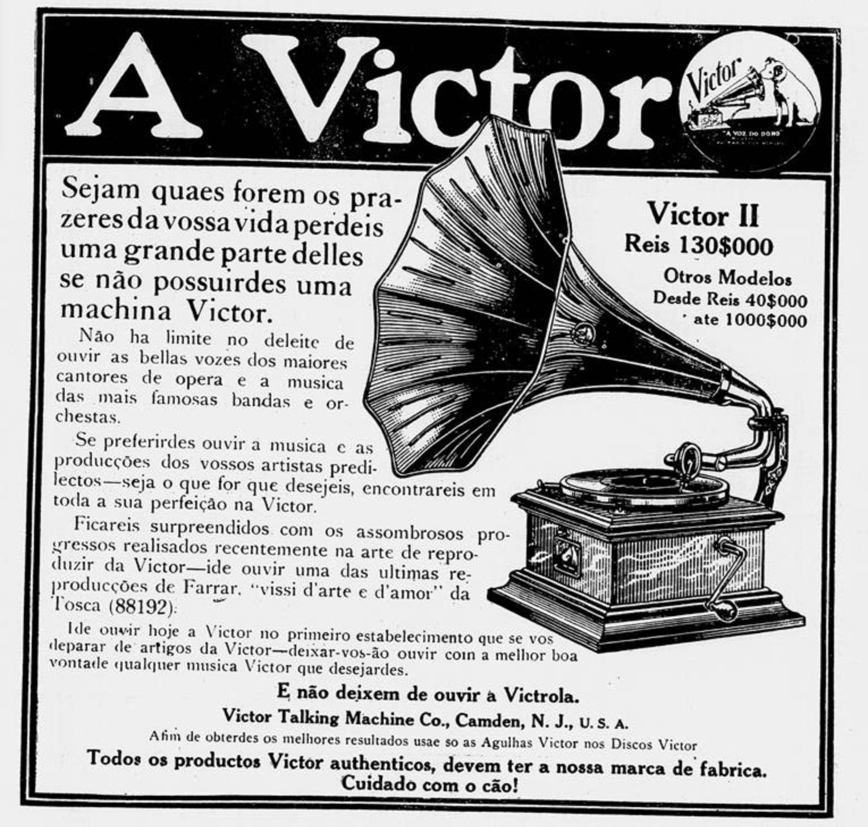 Propaganda antiga do Gramofone Victor veiculada em 1912