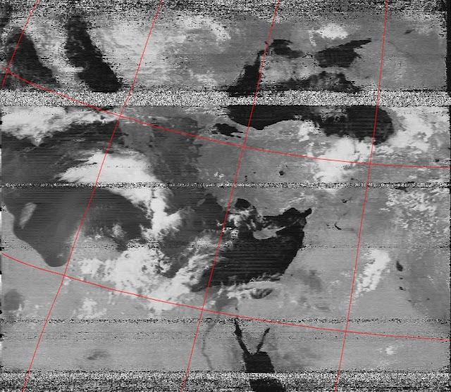 Improved contrast APT image received from NOAA 19 using the cheap solution for Software Defined Radio (SDR)