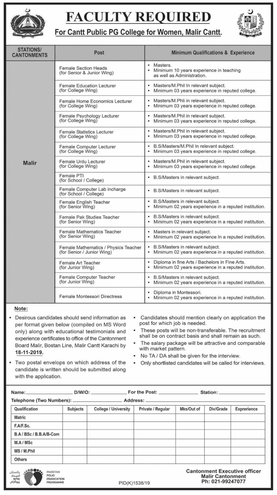 Cantt Public PG College for Women Malir Cantt Jobs 2019