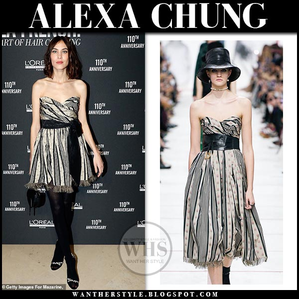f883d161905 Alexa Chung wearing strapless striped Dior mini dress and black tights. Red  carpet outfit march
