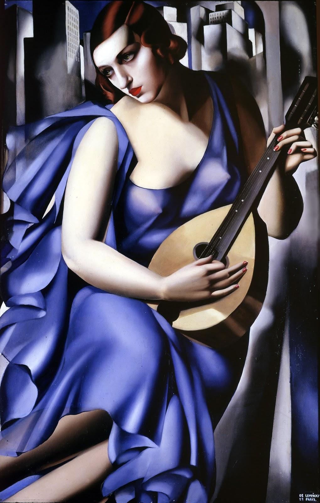Tamara  De  Lempicka  Donna  blu  con  chitarra