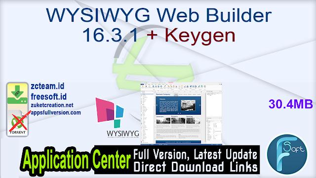 WYSIWYG Web Builder 16.3.1 + Keygen_ ZcTeam.id