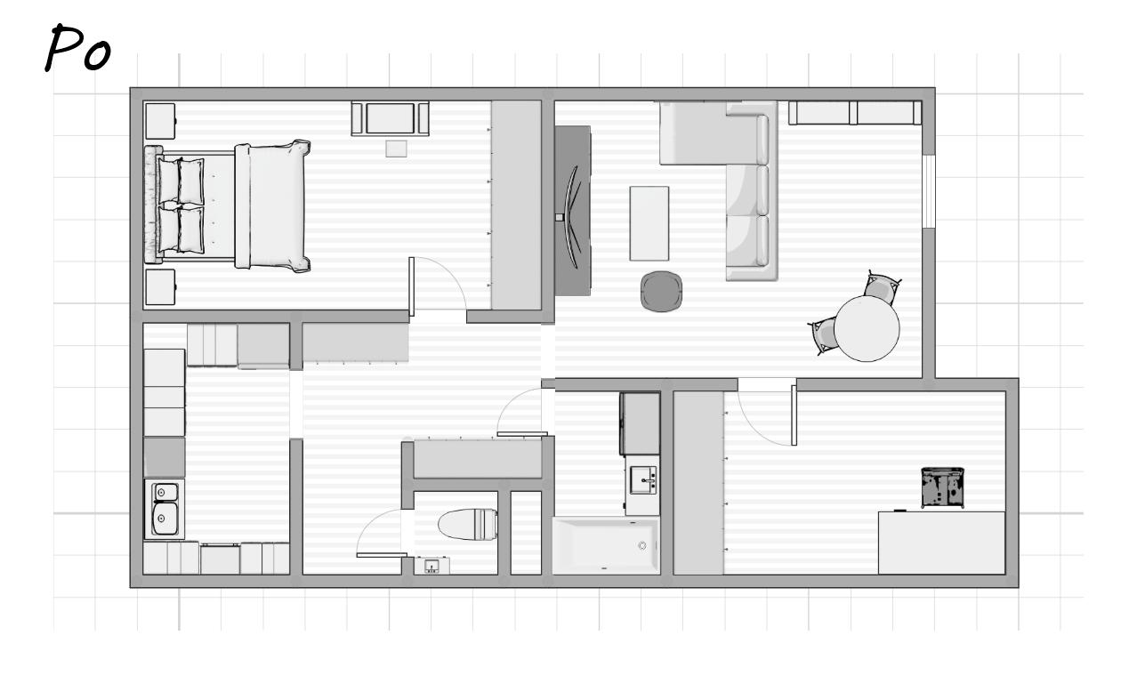 projekt mieszkania po remoncie jak zaprojektować mieszkanie 3 pokoje łódź rozkład mieszkania salon kuchnia sypialnia przedpokój łazienka wc biuro