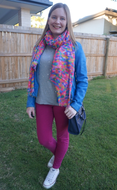 cobalt leahter jacket with grey knit pink colourful scarf and magenta ssass & bide skinny jeans winter SAHM outfit | away from the blue