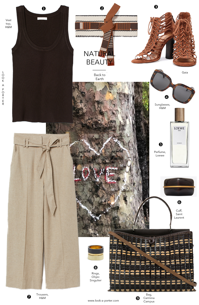 Styling a simple classic vest top with linen trousers and brown accessories for a smart casual summer outfit with H&M, Loewe, Saint Laurent, Schutz, Etro, Object Singulier & Carmina Campus bag for look-a-porter.com fashion blog